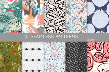 Collection of seamless patterns. Abstract design elements in set. Doodles with crayon and grunge texture roughly hand drawn.  イラスト・ベクター素材