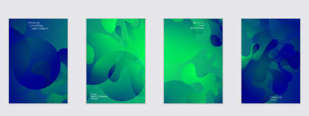 Abstract flyer templates with wavy shapes overlapping on bright gradient background. Social media web banner or landing page. Fluid colors and liquid shapes.