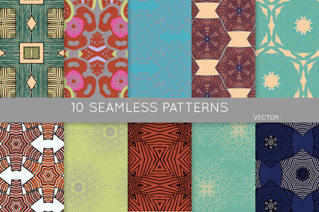 Collection of seamless patterns. Abstract design elements in set. Colored decorative repainting background with tribal and ethnic motifs