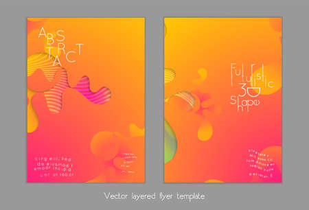 Abstract universal flyer templates with simple wavy shapes and cut out paper with shadow over striped background. Social media web banner. Bright colored isolated. Ilustração