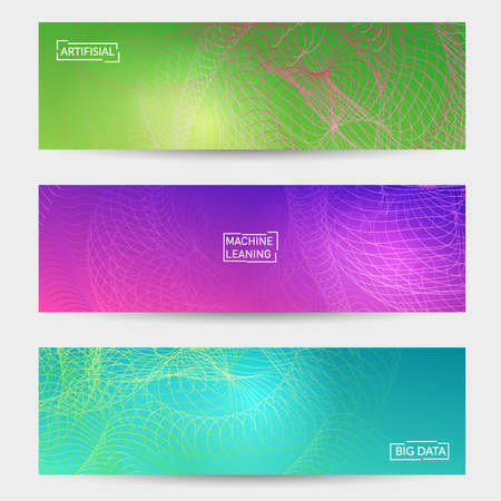 Abstract banner templates with curvy lines on bright gradient. Wavy blended simple background. Minimal modern design for marketing technology Ilustracja