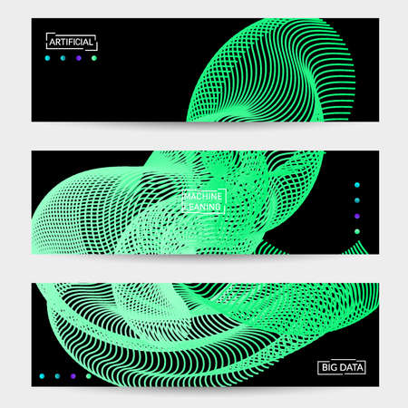 Vector abstract dynamic gradient waves, curvy line on black backgrounds. Modern web banner template with fluid blended curves and bright dots. Çizim