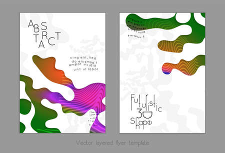 Abstract universal flyer templates with simple wavy shapes and cut out paper with shadow over striped background. Social media web banner. Bright colored isolated. Çizim