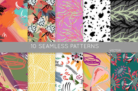 Collection of seamless patterns. Abstract design elements in set. Doodles with crayon and grunge texture roughly hand drawn. Stockfoto - 129763327