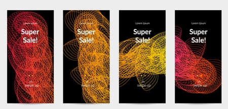 Sale banners for social media stories, web page and other promotion for mobile phone. Vector abstract dynamic gradient waves, curvy line on black backgrounds.