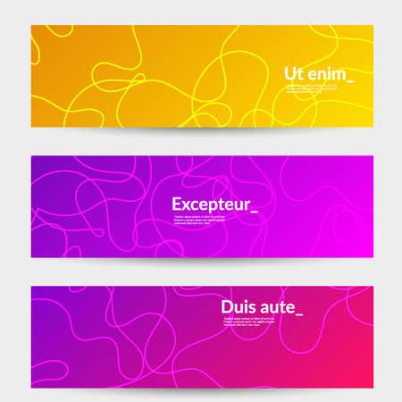 Abstrakte Bannervorlagen mit kurvigen Linien auf hellem Farbverlauf. Wellenförmiger Hintergrund.