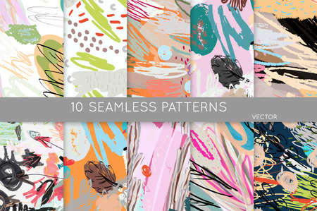 Collection of seamless patterns. Abstract design elements in set. Doodles with crayon and grunge texture roughly hand drawn. Stockfoto - 129763545