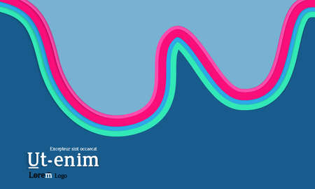 Web template with wavy paper cut layered shapes with realistic shadow on flat colored background. Social media web banner or landing page. 3D paper topographic effect.