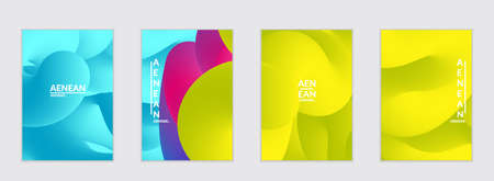 Fluid bright color flyer templates. Abstract liquid shapes composition. Modern vector graphic design. 3D effect with blend gradient.