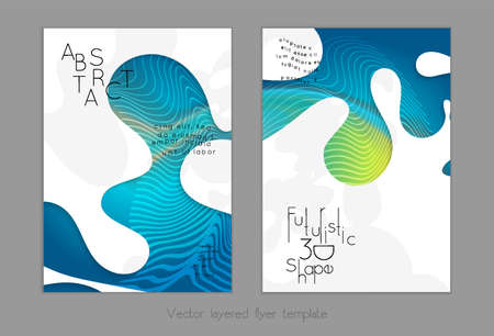 Abstract universal flyer templates with simple wavy shapes and cut out paper with shadow over striped background. Social media web banner. Bright colored isolated. Stock Illustratie
