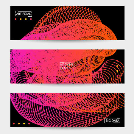 Vector abstract dynamic gradient waves, curvy line on black backgrounds. Modern web banner template with fluid blended curves and bright dots. Stock Illustratie