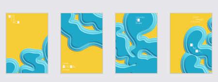Abstract flyer templates with wavy embossed shapes on colored background. Social media web banner or landing page. Abstract paper cut 3d layered topographic background.