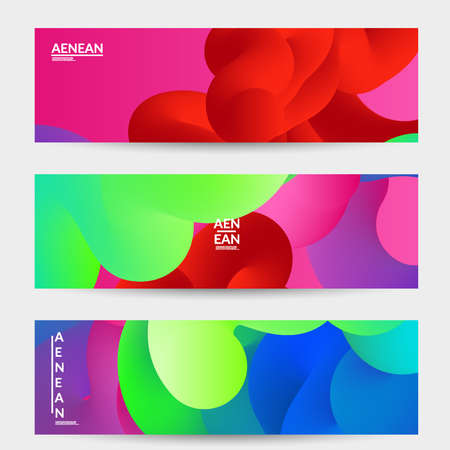 Bright colored sale advertisement templates with liquid shape. Fluid gradient color banners set. Creative 3D blend shapes dynamic composition. Layered isolated vector background.