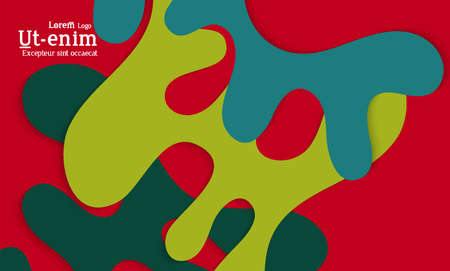 Abstract web templates with wavy cut out of paper layered shapes with realistic shadow. Social media web banner. Bright colored isolated. Overlapping paper cut shapes on gradient background.