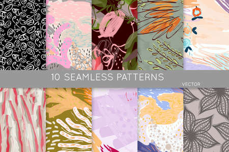 Collection of seamless patterns. Abstract design elements in set. Doodles with crayon and grunge texture roughly hand drawn. Stockfoto - 129764195
