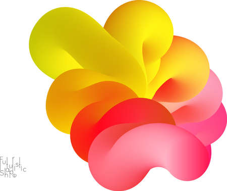 Abstract 3D fluid shape isolated on white background. Colorful gradient twisted element for web banner or flyer. Multicolored blend with swirls  waves and twists. Stock Illustratie