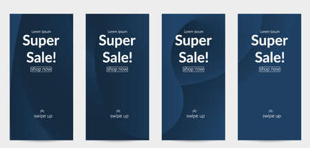 Sale banners for social media stories, web page and other promotion for mobile phone. Bright colored gradient sale advertisement template with fluid liquid shape. Stock Illustratie