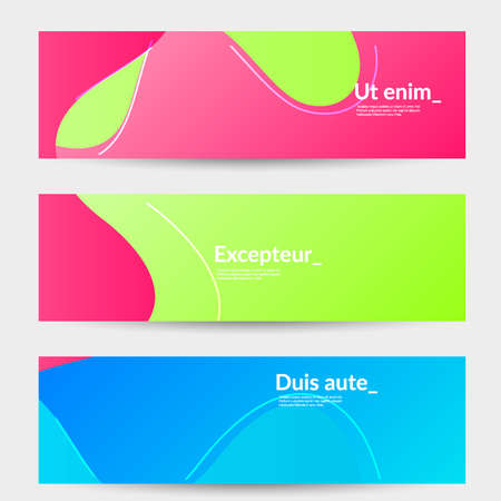 Abstract banner templates with wavy gradient shapes and curvy lines. Wavy  background.