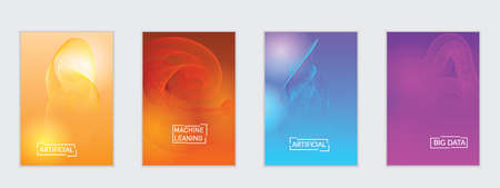 Abstract flyer templates with curvy lines on bright gradient. Wavy  blended simple background. Minimal modern design for marketing technology