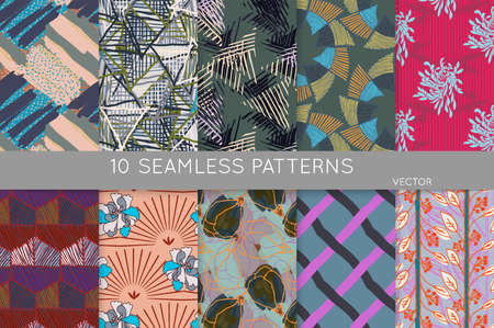 Collection of seamless patterns. Abstract design elements in set. Doodles with crayon and grunge texture roughly hand drawn. Stock Illustratie
