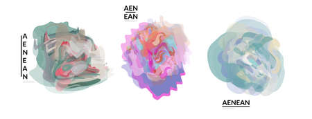 Abstract futuristic wavy shapes. Futuristic vector illustration badge set. Bubbles with transparent overlapping shapes creating watercolor texture.