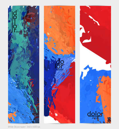 Abstract vector vertical banner. Colorful brush stoke of digital watercolor paint. Dimensional layered feather rainbow colored texture. Creative artistic advertising template. Bright rough scribble. Vecteurs