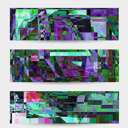 Abstract vector banner template. Small broken pixel distortion glitch art. Matrix geometric pattern. Vibrant colorful digital texture. Computer marketing sale background. Web page frame. 向量圖像