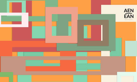 Abstract web wallpaper with paper cut overlapping rectangular frames. Vintage poster. Art with retro colored vector background objects. Material design. Marketing technologies for natural environment Illusztráció