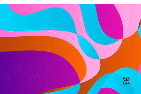 Abstract vector wallpaper cover template with bright gradient wavy organic overlapping shapes grunge textured. Fluid wavy lines art. Template for seasonal sale advertising  marketing technology. Illusztráció