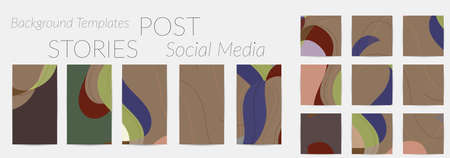 Social media booster background set. Art terrazzo pattern with wavy shapes and lines in earthy natural color for fashion seasonal sale story post.  advertising  marketing technologies.