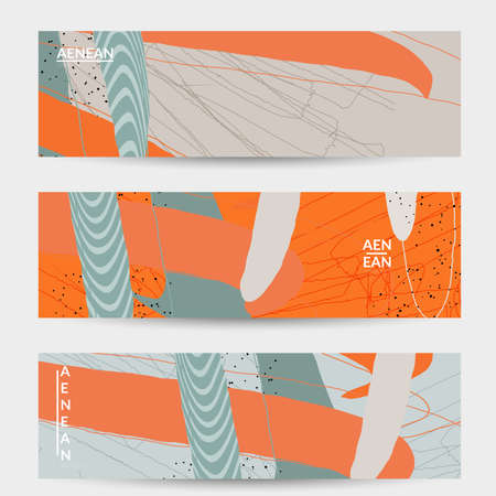 Minimal abstract vector banner template. Organic grunge textured overlapping wavy shapes and lines. Scribbled hand drawn pastel colored background. Striped dotted leaf forms. Contemporary design.