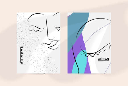 Contemporary continuous one line free hand drawing. Logo portrait in modern abstract graphic style with simple colorful organic pastel shapes and lines. Flyer mock up with shadow overlay. Illusztráció