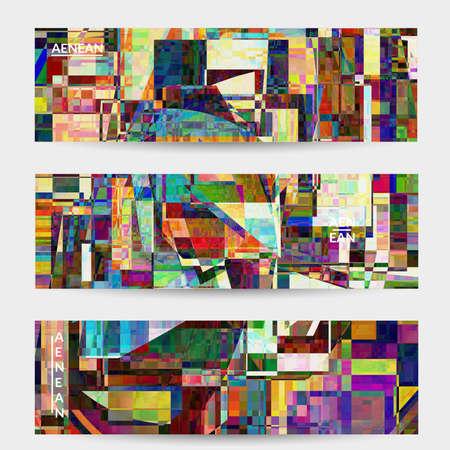 Abstract vector banner template. Small broken pixel distortion glitch art. Matrix geometric pattern. Vibrant colorful digital texture. Computer marketing sale background. Web page frame. Illusztráció