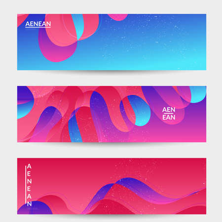 Abstract vector banner template with bright gradient wavy organic overlapping shapes grunge textured. Fluid wavy lines art. Template for seasonal sale advertising  marketing technology.