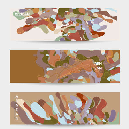 Abstract vector social media banner with art terrazzo pattern of wavy geometric abstract shapes and lines in earthy natural organic color.Minimal  design for web advertising marketing technologies. Illusztráció