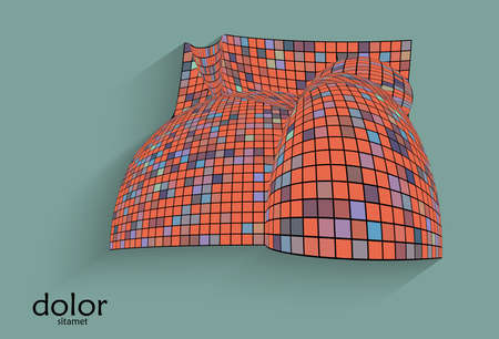 Abstract vector geometric shape with realistic shadow on flat colored background. 3D computer model  wire frame futuristic object. Grid distorted with multicolored pars. Technology data science icon.