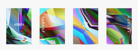 Abstract vector flyer template. Diagonal geometric vibrant colored pattern. Polarized light in microscopic view crystal structure. Dynamic computer filtered multicolored artistic background. Illusztráció