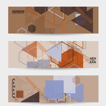 Abstract geometric texture. Mid century modern  design with geometric shapes transparent and overlapping. Retro colors. Banner template retro geometry vintage style.