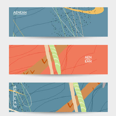 Retro hipster art banner design. Wavy motley shapes. Overlapping hand drawn texture. Stripes, dots and scribbles create exotic tropical background. Natural organic colors.
