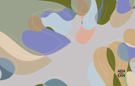 Abstract vector wallpaper, art terrazzo pattern with wavy shapes and lines in earthy natural color.Minimal modern template for fashion seasonal sale advertising  marketing technologies.