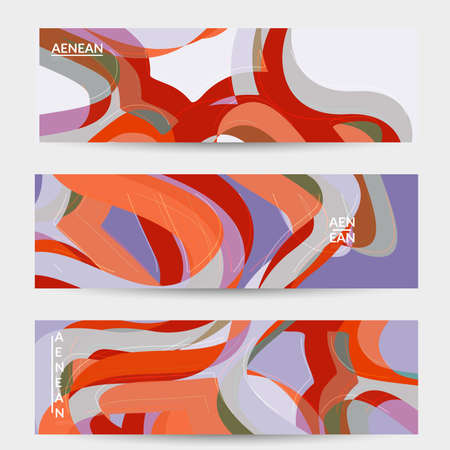 Abstract vector social media banner with art terrazzo pattern of wavy geometric abstract shapes and lines in earthy natural organic color.Minimal  modern design art illustration.