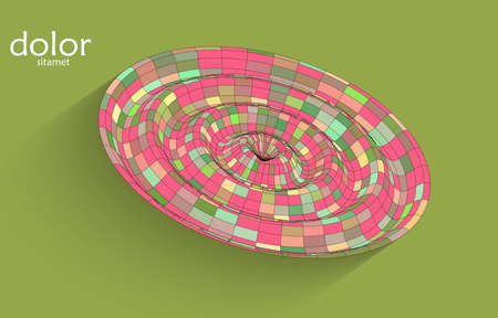 Abstract futuristic 3D object with realistic shadow on flat background. Computer digital model technology data science icon. Geometric shape with multicolored stripes.
