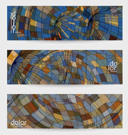 Abstract vector banner template with multicolored wire frame geometric shapes. Striped linear texture. Futuristic design. 3D science model digital technology concept. Retro colored digital art.