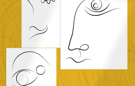 Trendy design templates with portrait woman in abstract one line graphic style. Contemporary background. Hand drawn vector art. Modern wall art, print or poster mock up with shadow overlay. Illusztráció