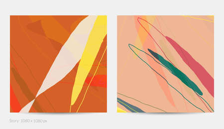 Set of vector abstract creative backgrounds in minimal trendy style. Modern templates for social media post stories. Fun doodle pattern.  Art landscape with abstract geometric shapes and colors.