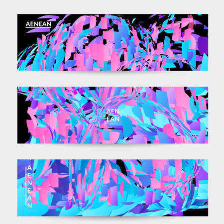Abstract banner template with bright colored random small particle explosion. Sport music social media layout. Optical art dynamic background with outer space motion. Futuristic vector. Illusztráció