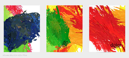 Abstract vector flyer. Colorful brush stoke of digital watercolor paint. Dimensional rainbow layered feather  texture. Creative artistic advertising event template. Bright rough scribble uneven shapes
