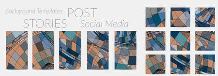 Abstract background set for social media post stories. Vector digital art backdrop. Wavy lines and grid texture. Optical art  pattern. Minimal modern design for marketing technology.