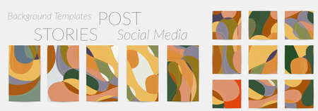 Social media booster background set. Art terrazzo pattern with wavy shapes and lines in earthy natural color for fashion seasonal sale story post.