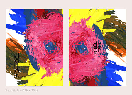 Abstract vector poster template with colorful feather layered shapes. Bright multicolored dimensional background. Brush stroke watercolor digital paint imitation. Rainbow scribble artistic card.
